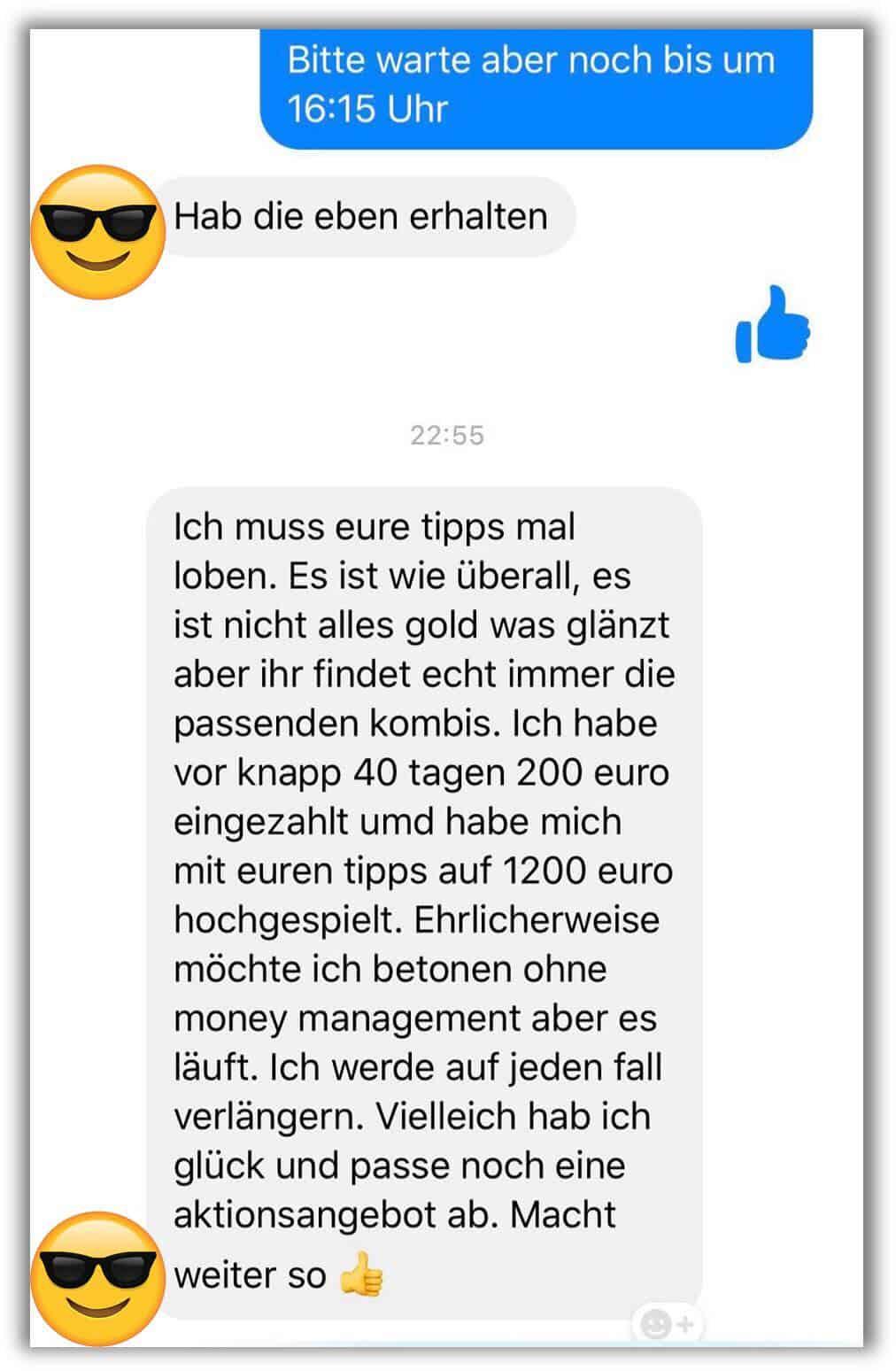 Kundenmeinung zum SMS BETS Service
