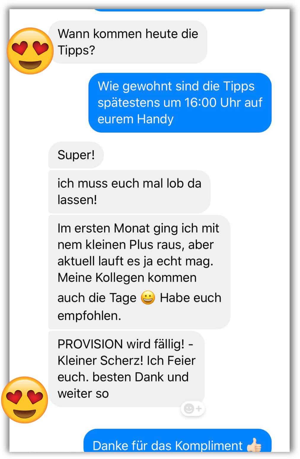 Kundenrückmeldung zum SMS BETS Service